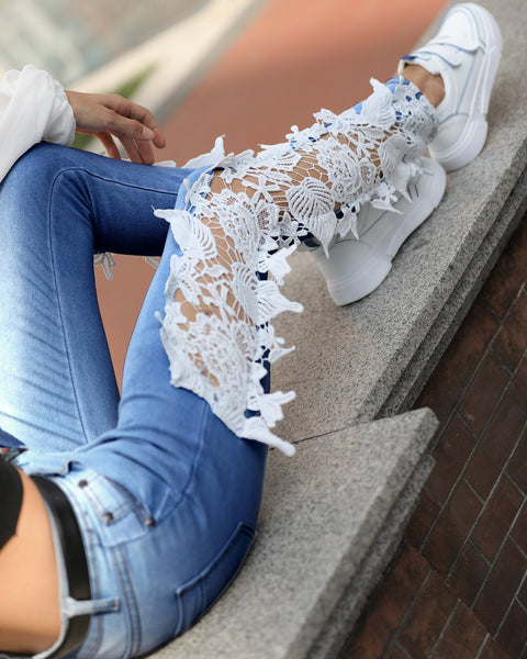 Lace Crochet Hollow-Out Jeans