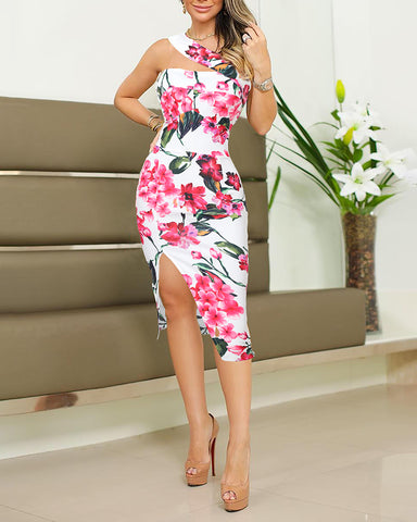 One Shoulder Floral Print Slit Bodycon Dress