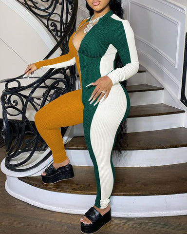 Colorblock Long Sleeve Skinny Jumpsuit