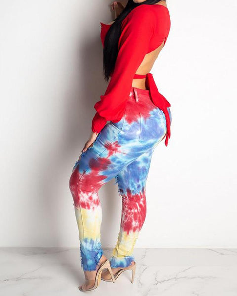 Printed Camouflage Hollow Out Pants