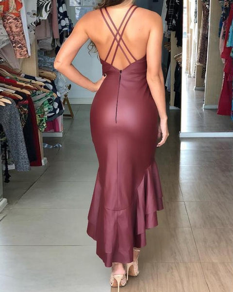 Sexy Deep V Backless Ruffles Layered Fishtail Dress