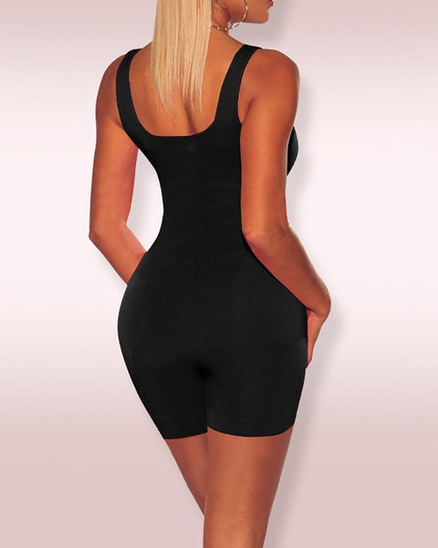 Solid Thick Strap U-Neck Fitted Romper