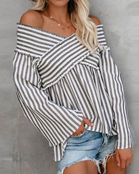 Off Shoulder V-neck Striped Irregular Blouse