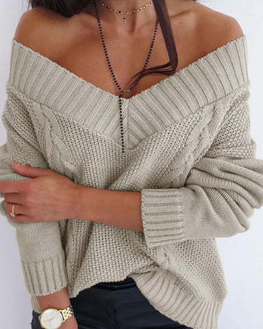Braided Knit Solid Casual Sweater