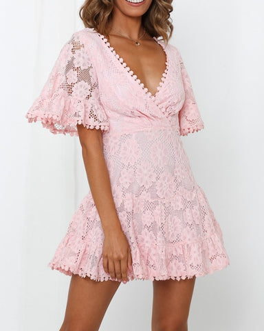 Solid Lace Floral Cut-out Short Sleeve Dress