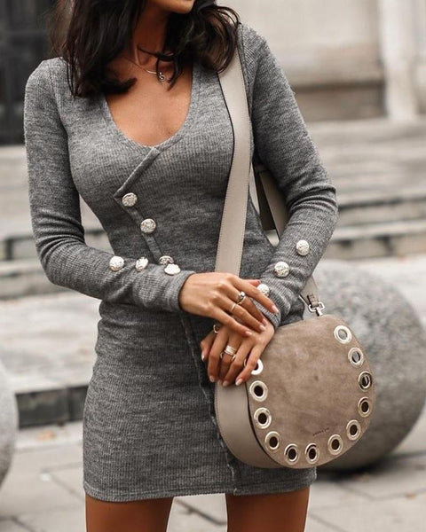 Solid Button Detail Knitted Dress