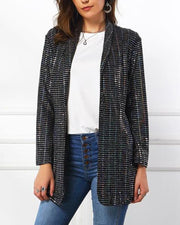 Sequin Open Front Slim Fit Blazer