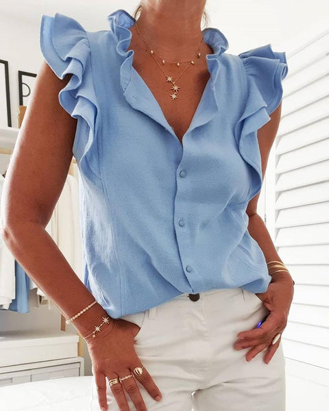 Frill Hem Button Design Top