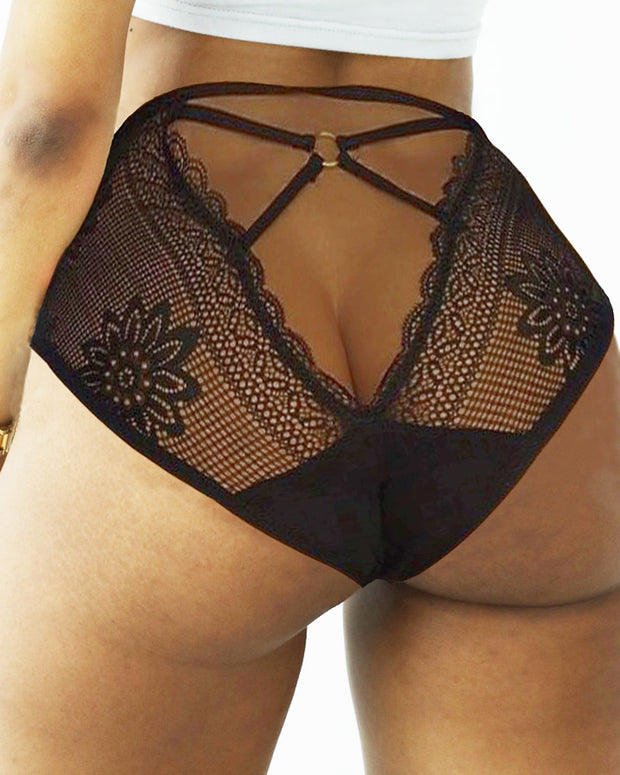 Floral Pattern Embroidery O-ring Hollow Out Lace Panty