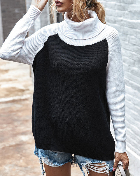 Knit High Neck Colorblock Casual Sweater