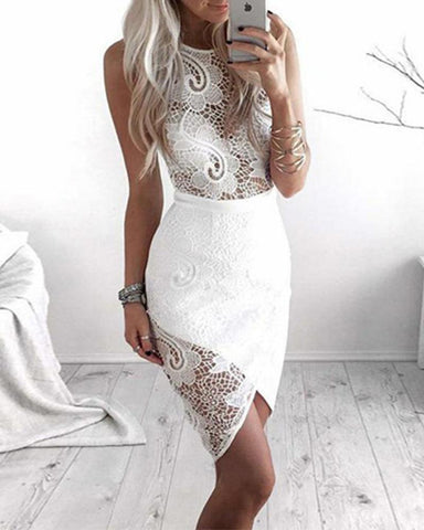 Wrapover Hem Sheer Lace Dress