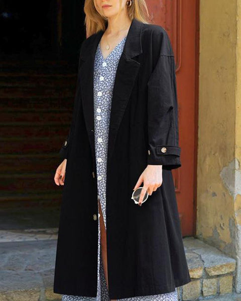 Solid Button Front Long Sleeve Coat