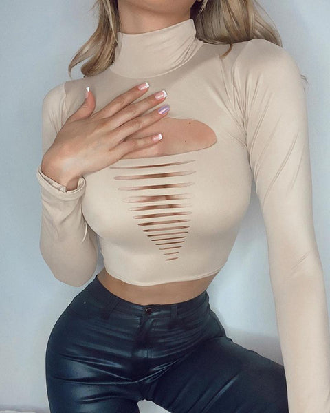 Ladder Cutout Solid High Neck Crop Top