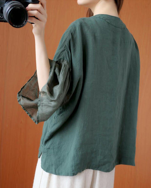 Solid Three Quarters Sleeve Blouse