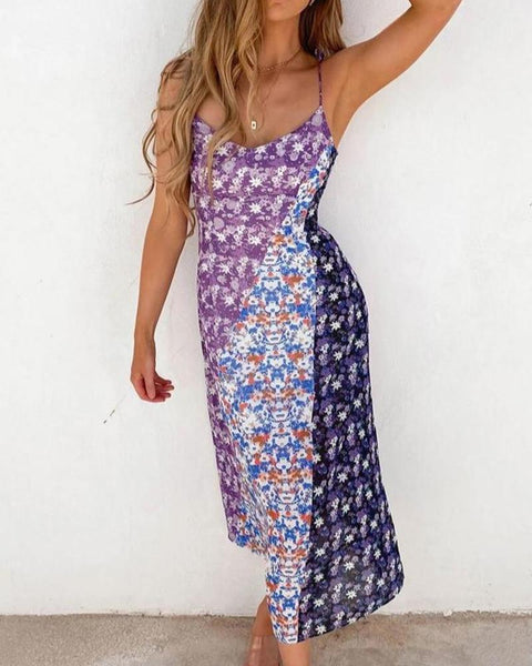 Beach Print Spaghetti Strap Backless Dress