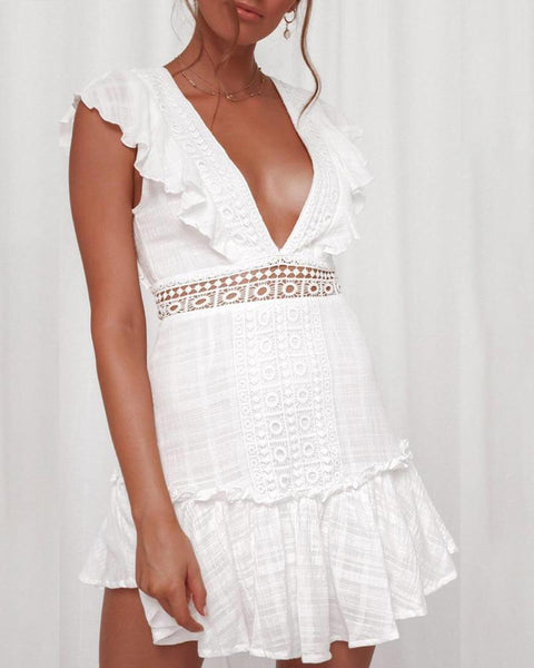 Plunging back and Waist Lace Skirt Dress