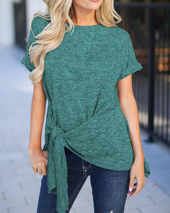 Knotted Front Roll-Up Sleeve T-shirt