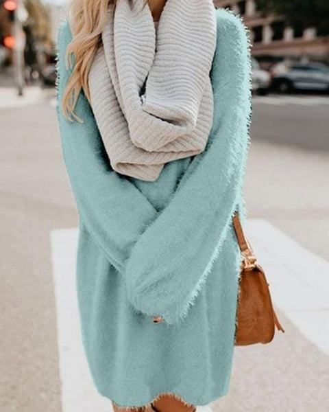 Solid Color Medium Length Loose Knitting Sweater