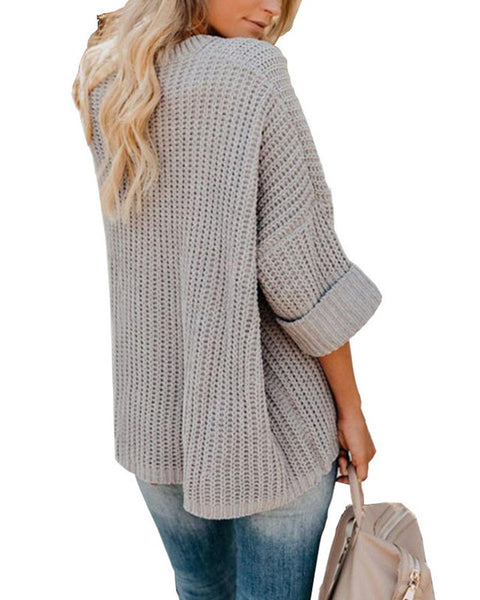 Solid Three Quatrter Sleeve Loose Sweaters