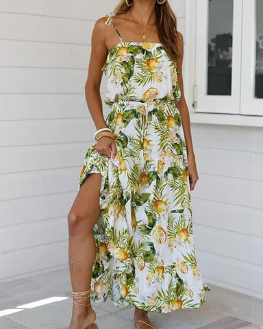 Tropical Print Maxi Cami Dress