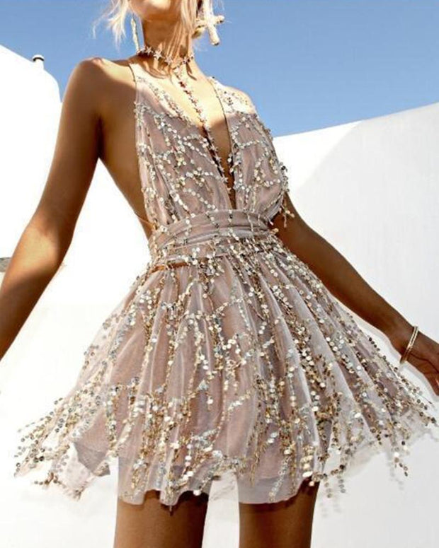 Deep V Embellished Backless Mini Dress