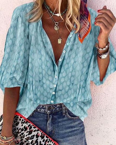 Print Bubble Sleeve Loose Blouse