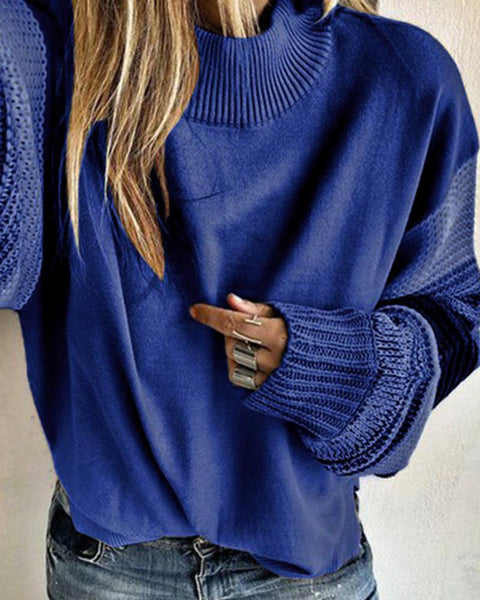 Colorblock Long Sleeve Loose Sweaters