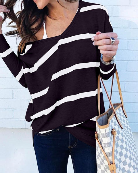 Long Sleeve Striped Casual Blouse