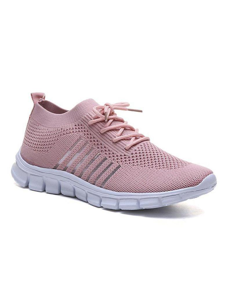 Plain Perforated Lace-Up Sneakers