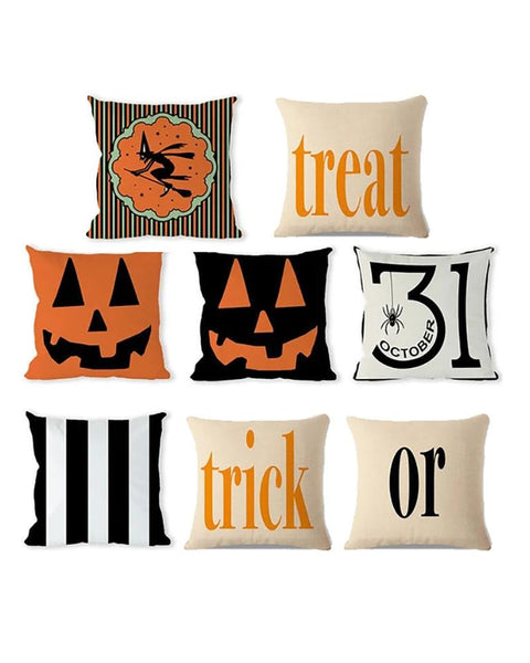 Halloween Witch / Letter / Striped Print Cushion Cover Without Filler