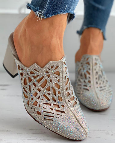 Studded Cutout Close Toe Chunky Heels
