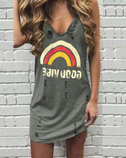 Letter Rainbow Print Hollow Out Casual Dress