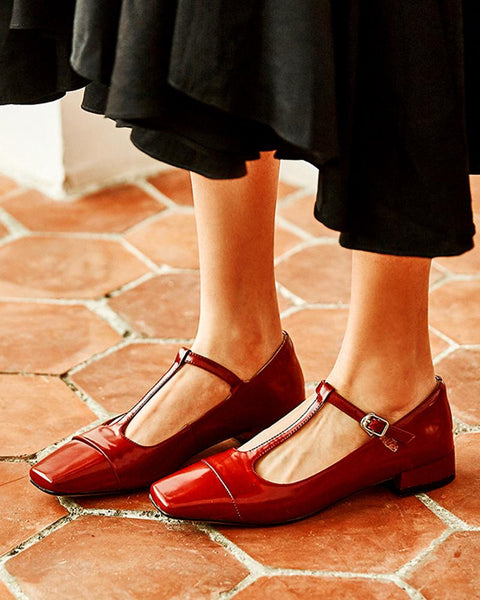 Polished Leather Mary Jane Shoes