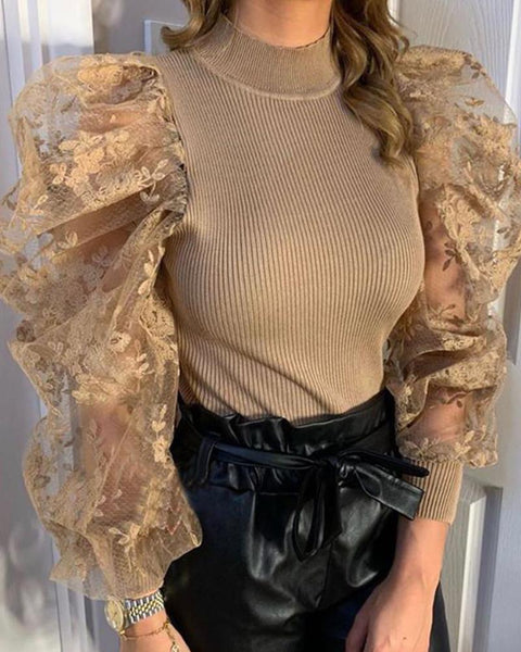 Embroidery Mesh Sleeve Rib Bodysuit