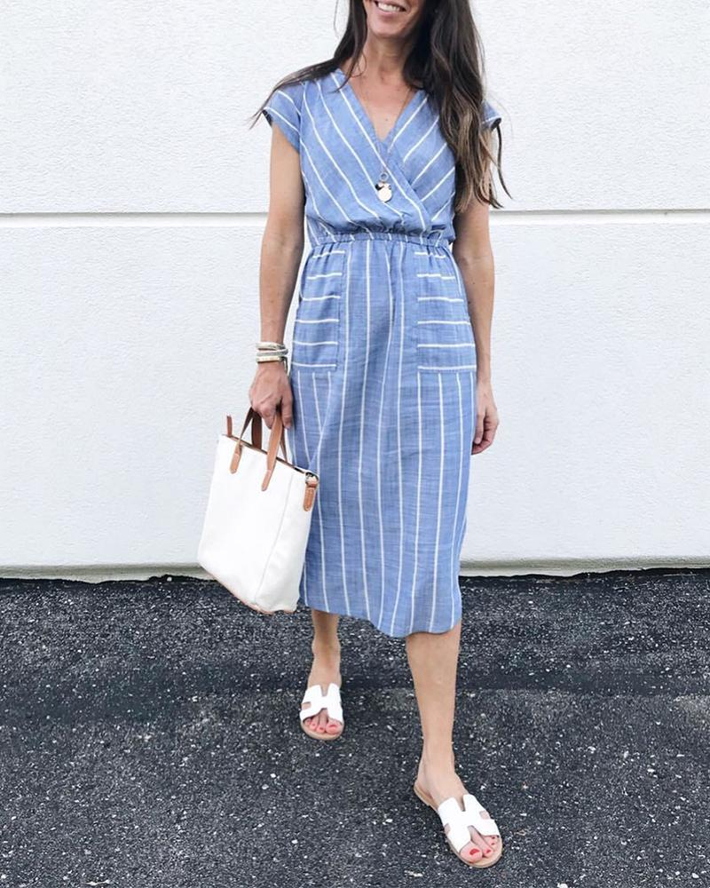 Striped V Neck Surplice Midi Dress