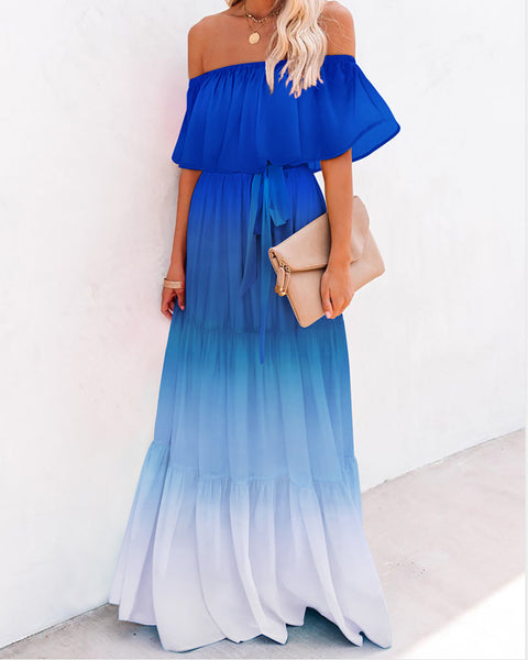 Gradient Color Tie Dye Print Off Shoulder Layered Ruffles Maxi Dress