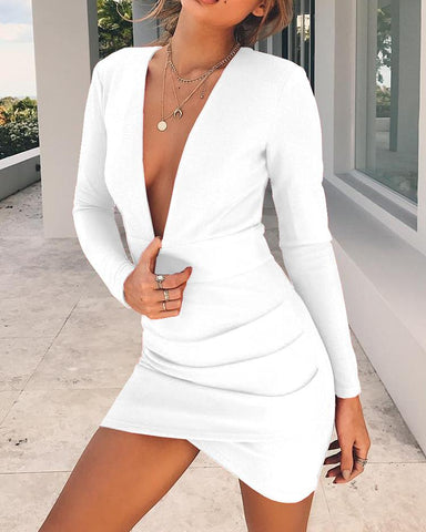 Deep V Open Back Ruched Overlap Hem Bodycon Dress