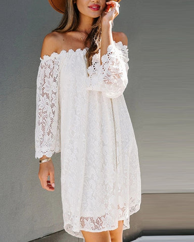 Lace Solid Color Off-shoulder Long Sleeve Mini Dress