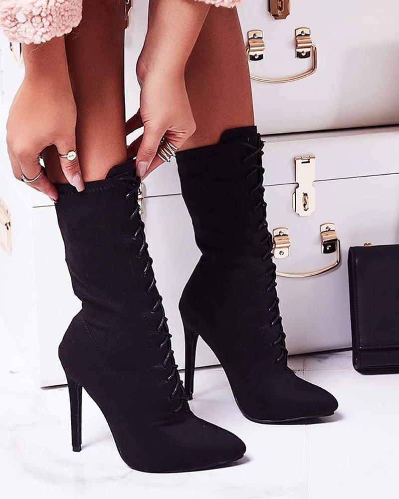 Suede Lace-up Heeled Pointed Boots