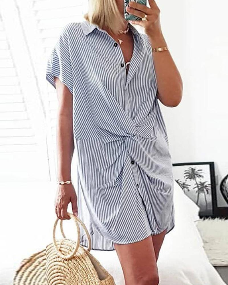 Striped Short Sleeve Tie Design Blouse
