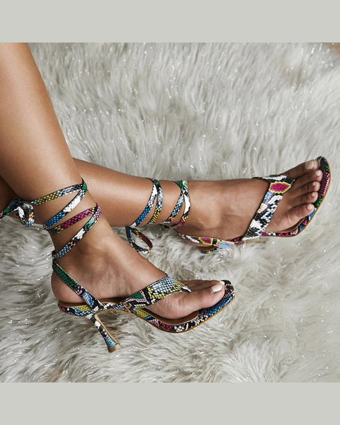 Open Toe Snakeskin Heeled Sandals