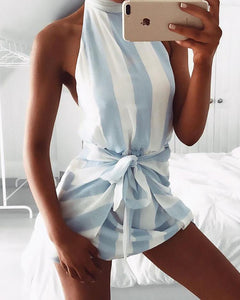 Trendy Stripe Print Tied Waist Halter Mini Dress