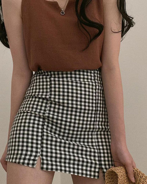 Gingham Print Double Slit Skirt