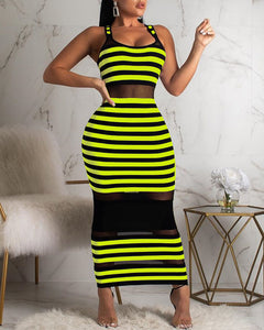 Thin Strap Striped Mesh Dress