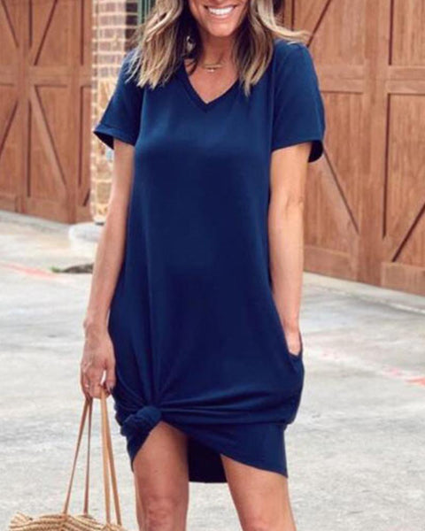 Solid V Neck T-Shirt Dress