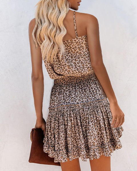 Cheetah Print Frill Hem Ruffles Ruched Dress