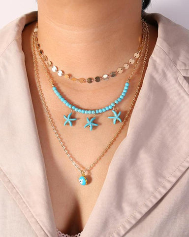 Sequins Turquoise Starfish Eyes Multilayer Necklace