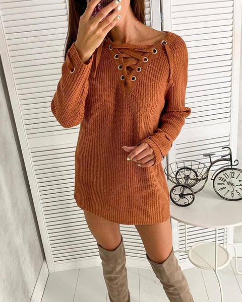 V Neck Lace-Up Jumper Dress