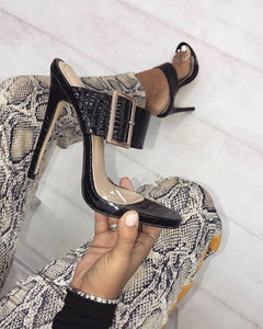 Open-toe Double Strap Heeled Sandals
