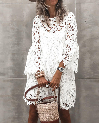 Solid Flared Sleeve Loose Lace Dress